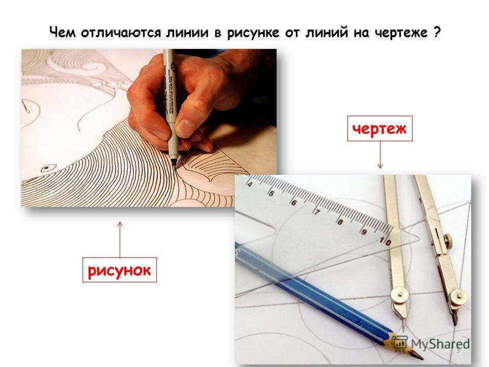 рисунок чертеж 3 Чем отличаются линии в рисунке от линий на чертеже ?