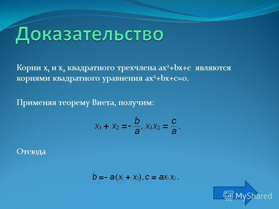 Если x 1 и x 2 – корни квадратного трехчлена ax 2 + bx + c, то ax 2 + bx + c = a(x - x 1 )(x - x 2 ). Доказательство