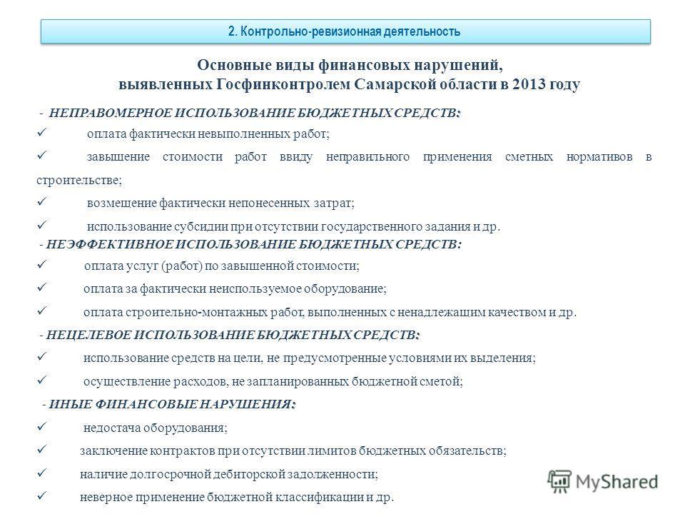 Основные виды финансовых нарушений, выявленных Госфинконтролем Самарской области в 2013 году : - НЕПРАВОМЕРНОЕ ИСПОЛЬЗОВАНИЕ БЮДЖЕТНЫХ СРЕДСТВ: оплата фактически невыполненных работ; завышение стоимости работ ввиду неправильного применения сметных но