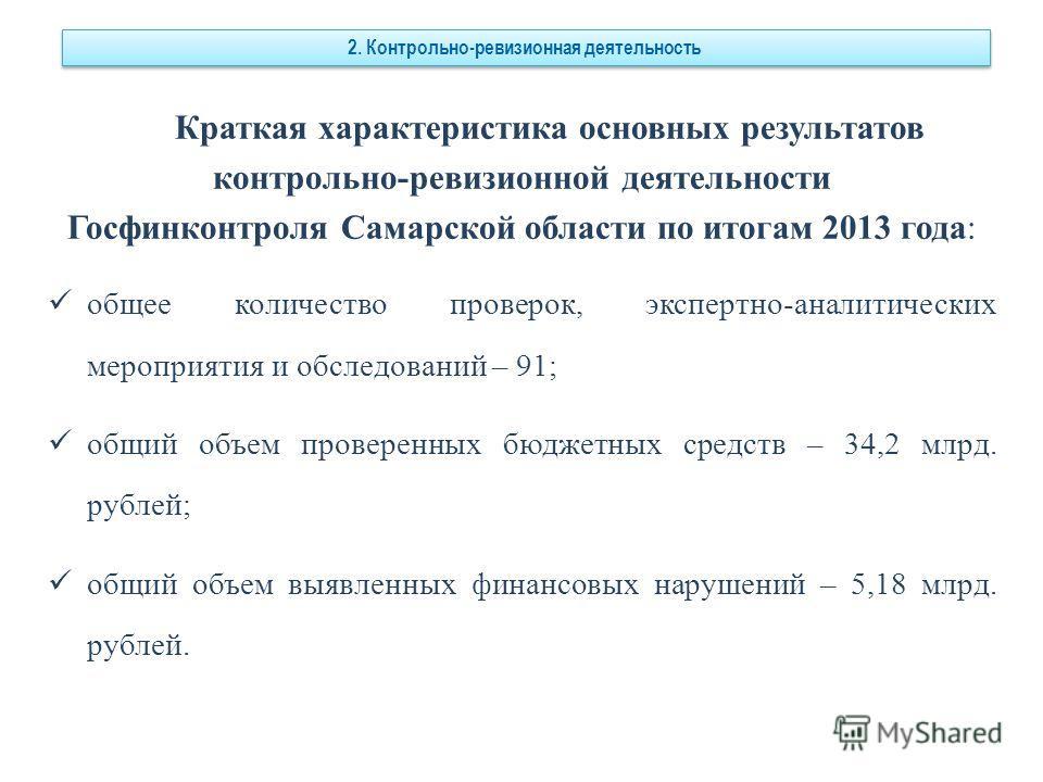 Краткая характеристика основных результатов контрольно-ревизионной деятельности Госфинконтроля Самарской области по итогам 2013 года: общее количество проверок, экспертно-аналитических мероприятия и обследований – 91; общий объем проверенных бюджетны