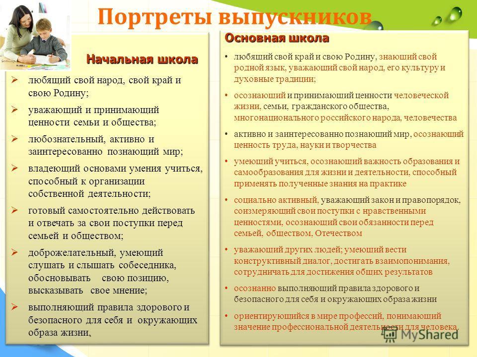 Основная школа любящий свой край и свою Родину, знающий свой родной язык, уважающий свой народ, его культуру и духовные традиции; осознающий и принимающий ценности человеческой жизни, семьи, гражданского общества, многонационального российского народ