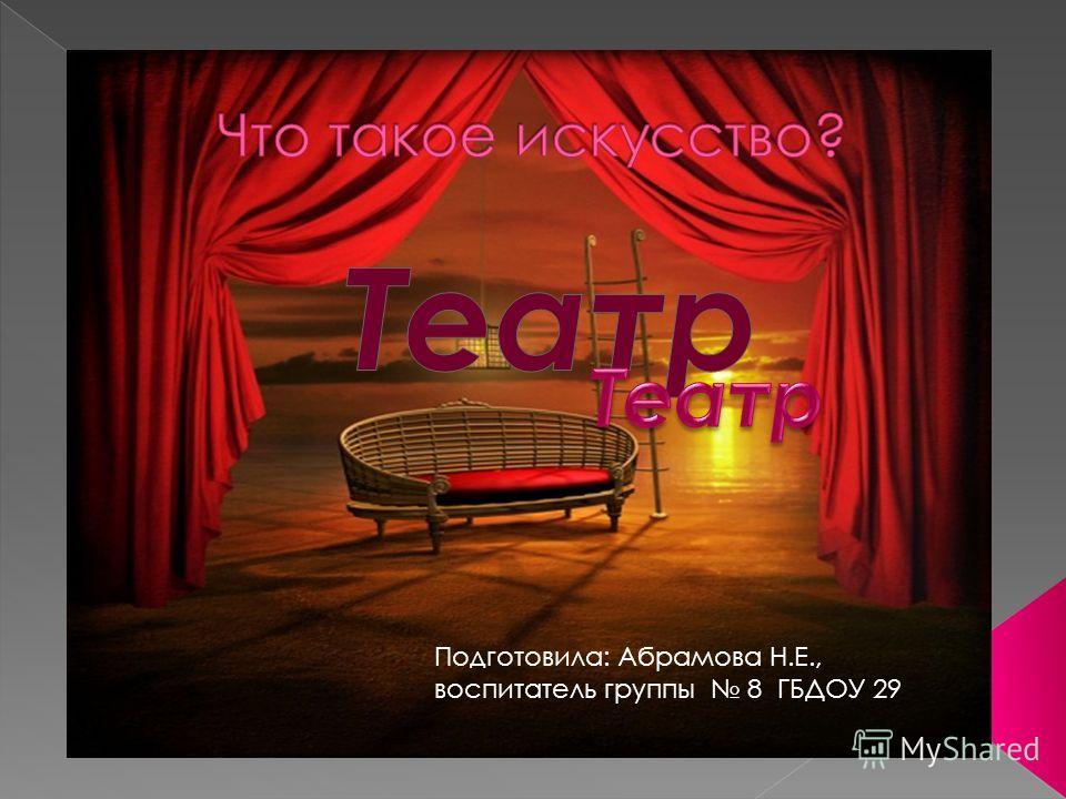 Подготовила: Абрамова Н.Е., воспитатель группы 8 ГБДОУ 29