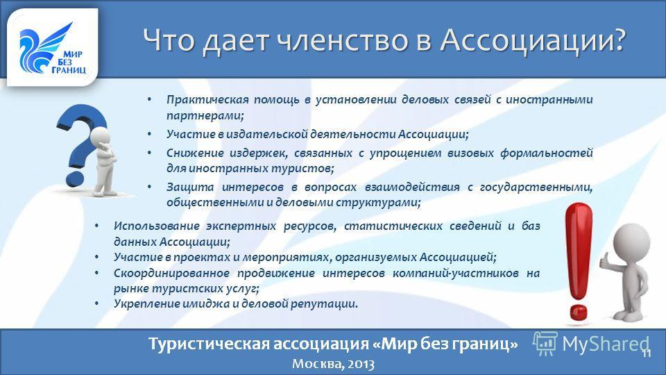 Что дает членство в Ассоциации? 11 Практическая помощь в установлении деловых связей с иностранными партнерами; Участие в издательской деятельности Ассоциации; Снижение издержек, связанных с упрощением визовых формальностей для иностранных туристов;