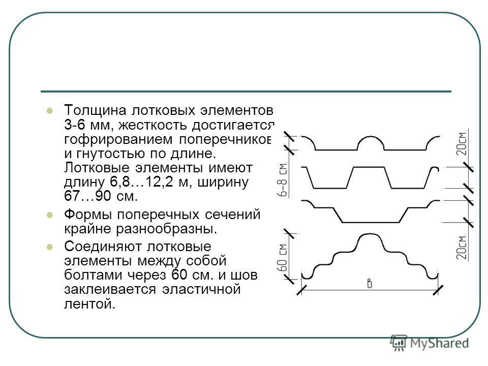 Толщина лотковых элементов 3-6 мм, жесткость достигается гофрированием поперечников и гнутостью по длине. Лотковые элементы имеют длину 6,8…12,2 м, ширину 67…90 см. Формы поперечных сечений крайне разнообразны. Соединяют лотковые элементы между собой