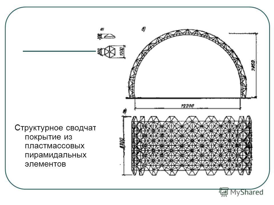 Структурное сводчатое покрытие из пластмассовых пирамидальных элементов