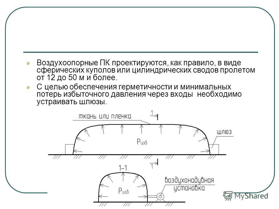 Воздухоопорные ПК проектируются, как правило, в виде сферических куполов или цилиндрических сводов пролетом от 12 до 50 м и более. С целью обеспечения герметичности и минимальных потерь избыточного давления через входы необходимо устраивать шлюзы.