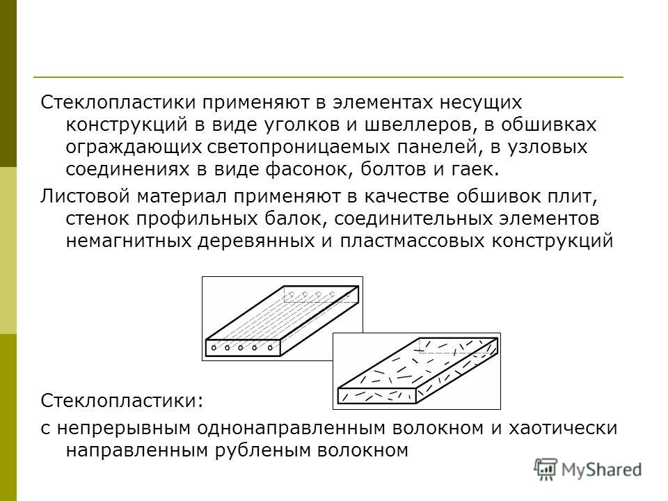 Стеклопластики применяют в элементах несущих конструкций в виде уголков и швеллеров, в обшивках ограждающих светопроницаемых панелей, в узловых соединениях в виде фасонок, болтов и гаек. Листовой материал применяют в качестве обшивок плит, стенок про