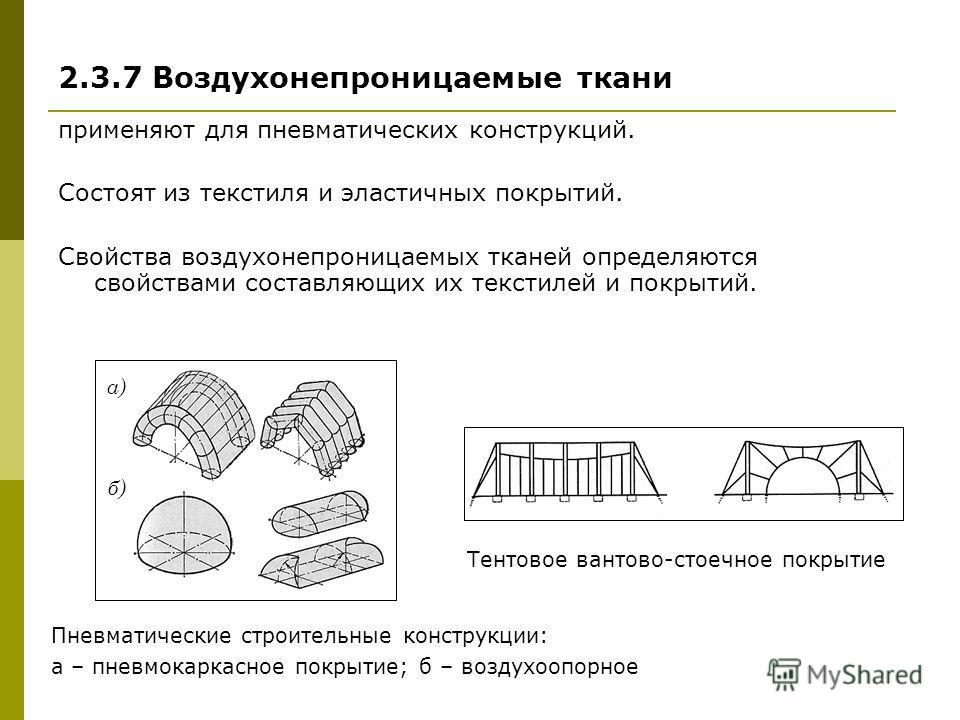 2.3.7 Воздухонепроницаемые ткани применяют для пневматических конструкций. Состоят из текстиля и эластичных покрытий. Свойства воздухонепроницаемых тканей определяются свойствами составляющих их текстилей и покрытий. а) б) Пневматические строительные