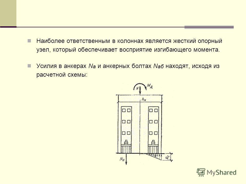 Наиболее ответственным в колоннах является жесткий опорный узел, который обеспечивает восприятие изгибающего момента. Усилия в анкерах N а и анкерных болтах N aб находят, исходя из расчетной схемы: