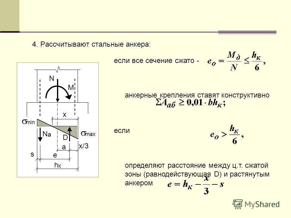4. Рассчитывают стальные анкера: N M х NаNа D s e a hкhк х/3 max min если все сечение сжато - анкерные крепления ставят конструктивно если определяют расстояние между ц.т. сжатой зоны (равнодействующая D) и растянутым анкером