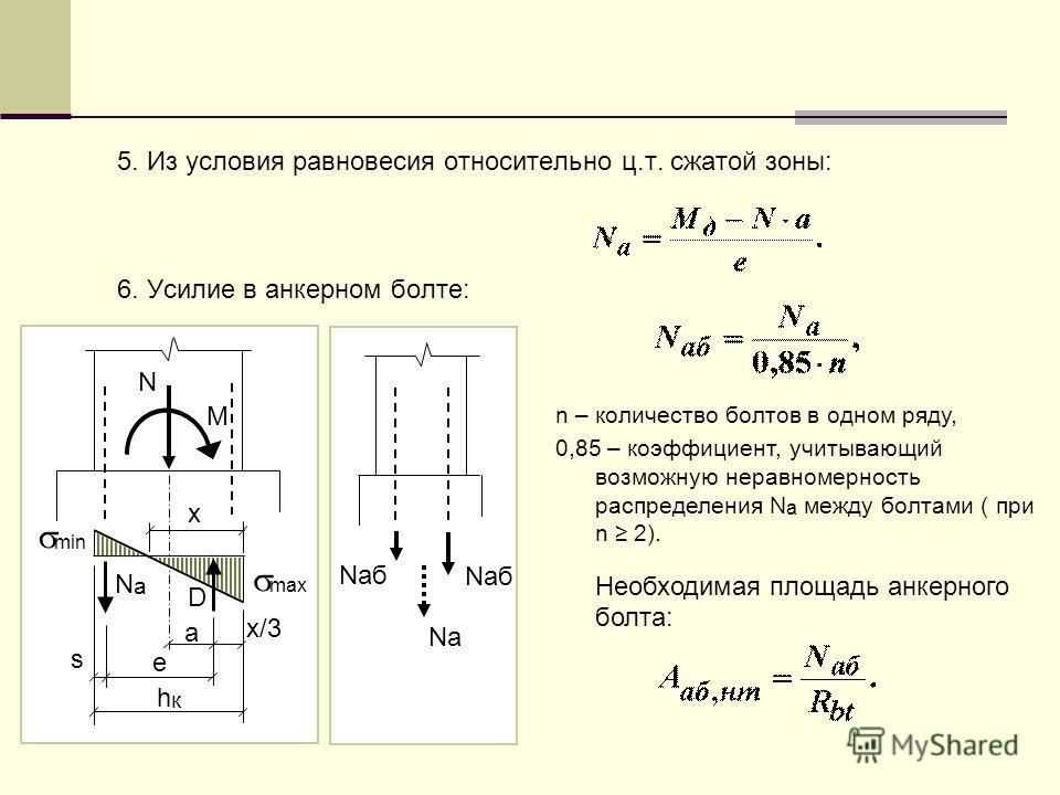 N M х NаNа D s e a hкhк х/3 max min 5. Из условия равновесия относительно ц.т. сжатой зоны: 6. Усилие в анкерном болте: n – количество болтов в одном ряду, 0,85 – коэффициент, учитывающий возможную неравномерность распределения N a между болтами ( пр