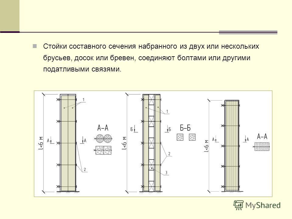 Стойки составного сечения набранного из двух или нескольких брусьев, досок или бревен, соединяют болтами или другими податливыми связями.
