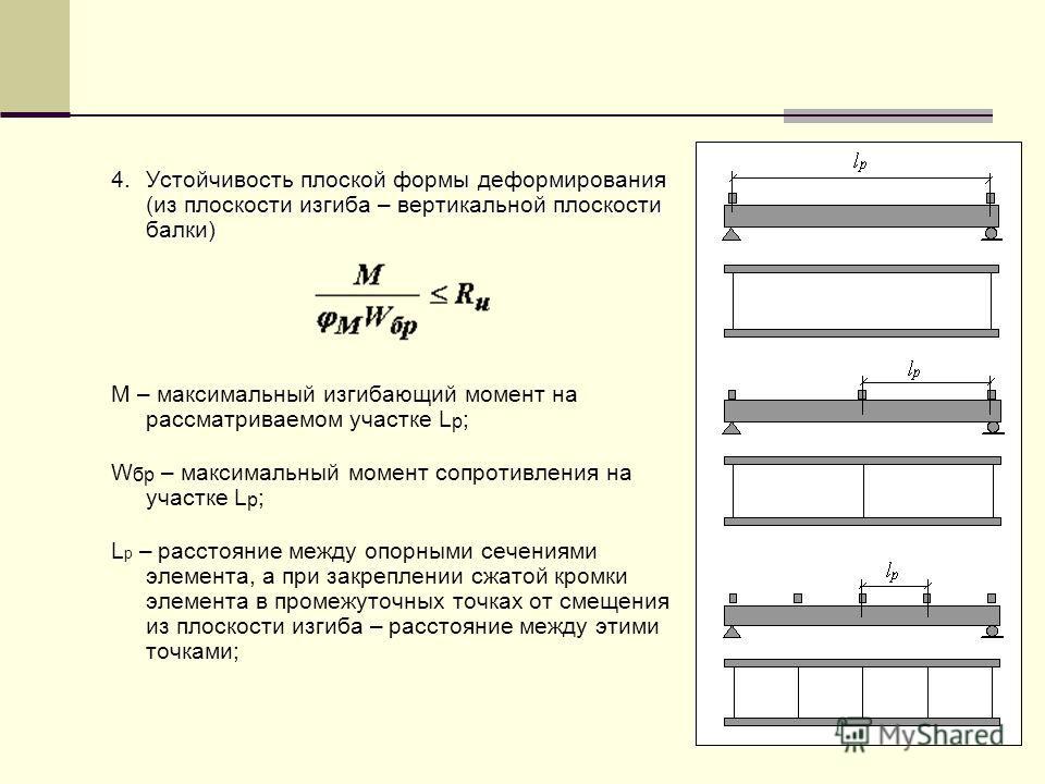 4.Устойчивость плоской формы деформирования (из плоскости изгиба – вертикальной плоскости балки) M – максимальный изгибающий момент на рассматриваемом участке L р ; W бр – максимальный момент сопротивления на участке L р ; L р – расстояние между опор