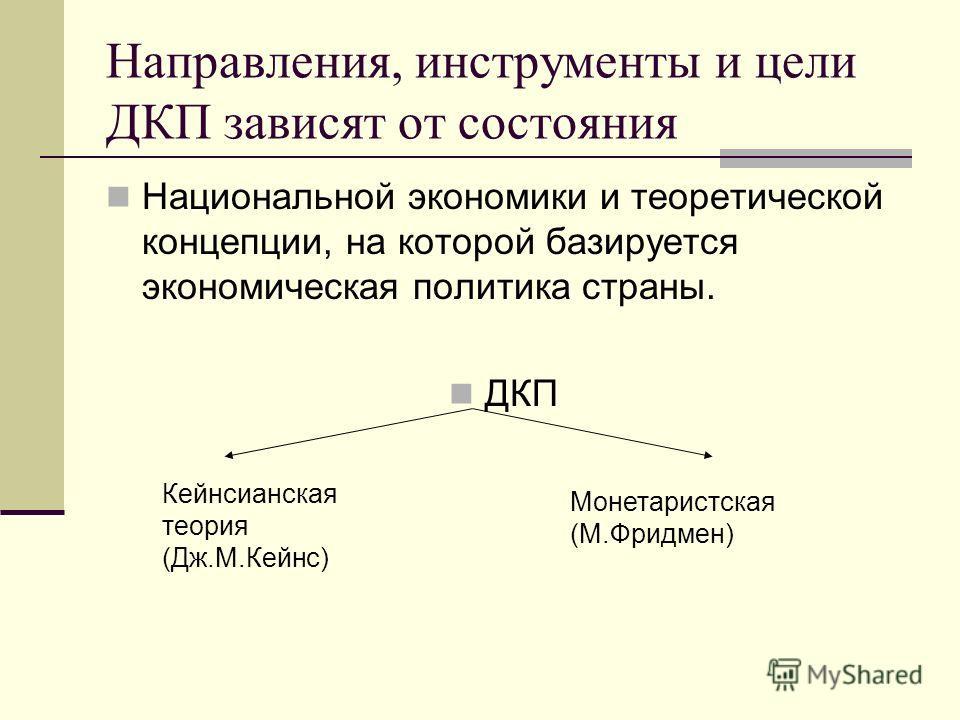 Направления, инструменты и цели ДКП зависят от состояния Национальной экономики и теоретической концепции, на которой базируется экономическая политика страны. ДКП Кейнсианская теория (Дж.М.Кейнс) Монетаристская (М.Фридмен)