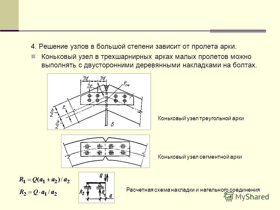 4. Решение узлов в большой степени зависит от пролета арки. Коньковый узел в трехшарнирных арках малых пролетов можно выполнять с двусторонними деревянными накладками на болтах. Коньковый узел треугольной арки Коньковый узел сегментной арки Расчетная