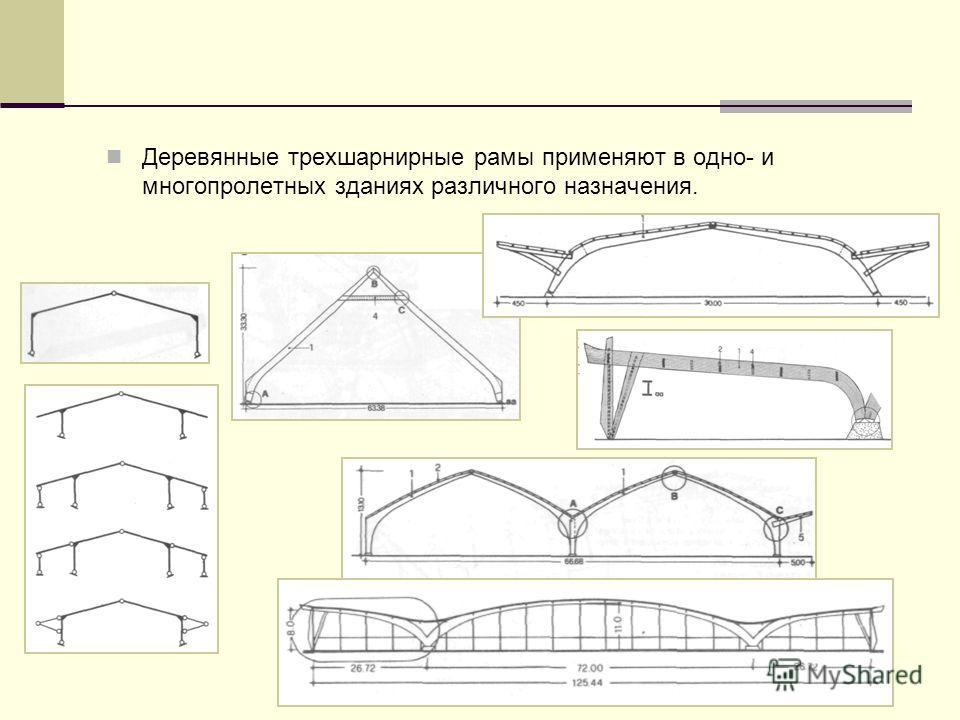 Деревянные трехшарнирные рамы применяют в одно- и многопролетных зданиях различного назначения.