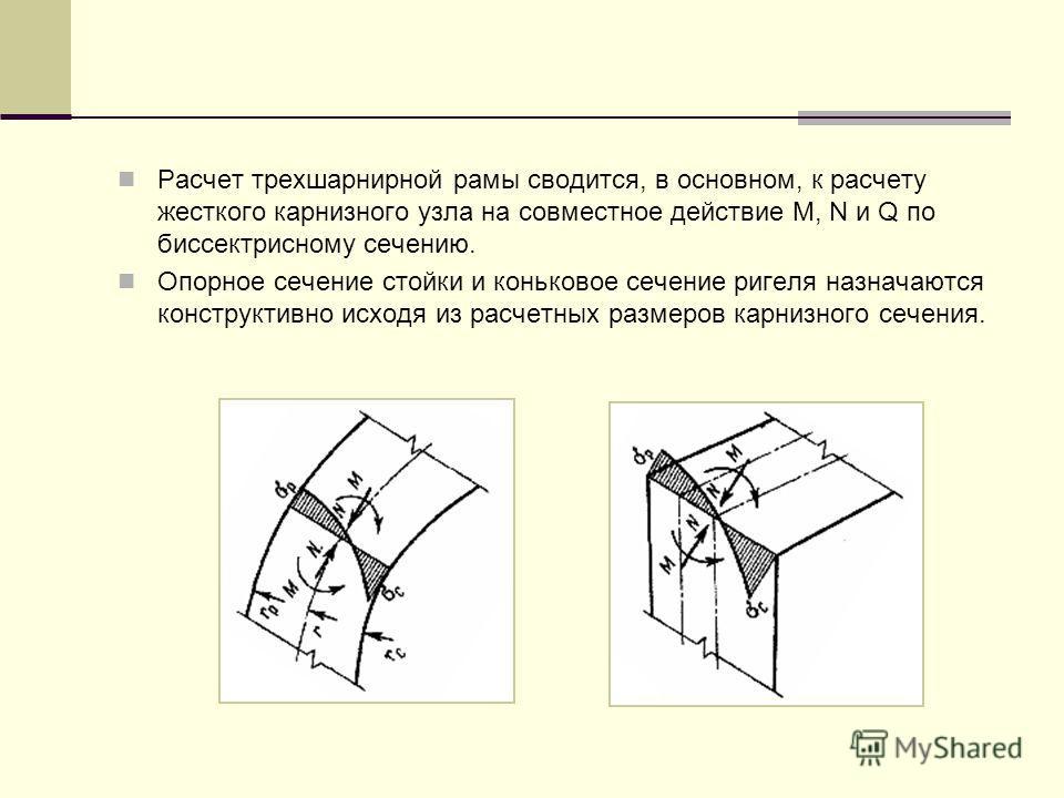 Расчет трехшарнирной рамы сводится, в основном, к расчету жесткого карнизного узла на совместное действие M, N и Q по биссектрисному сечению. Опорное сечение стойки и коньковое сечение ригеля назначаются конструктивно исходя из расчетных размеров кар