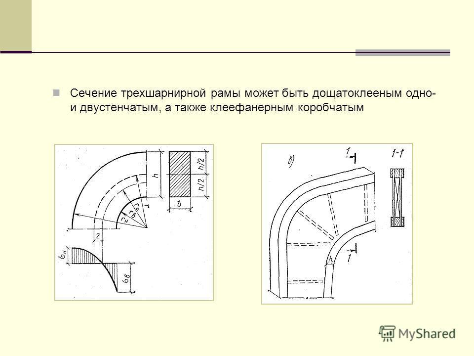 Сечение трехшарнирной рамы может быть дощатоклееным одно- и двустенчатым, а также клеефанерным коробчатым