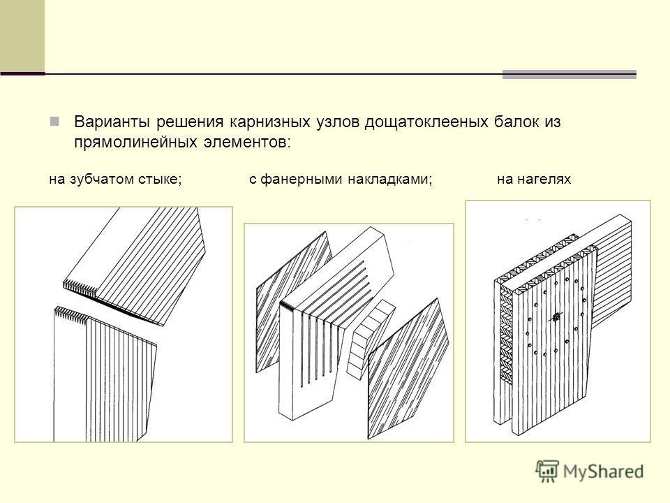 Варианты решения карнизных узлов дощатоклееных балок из прямолинейных элементов: на зубчатом стыке; с фанерными накладками; на нагелях
