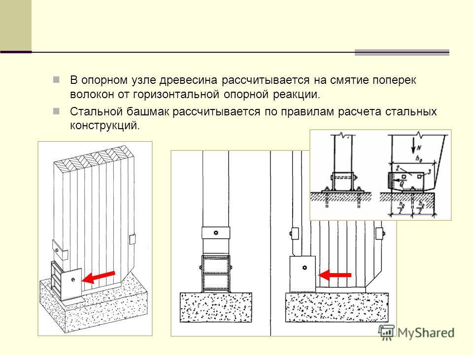 В опорном узле древесина рассчитывается на смятие поперек волокон от горизонтальной опорной реакции. Стальной башмак рассчитывается по правилам расчета стальных конструкций.