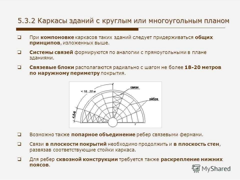 5.3.2 Каркасы зданий с круглым или многоугольным планом При компоновке каркасов таких зданий следует придерживаться общих принципов, изложенных выше. Системы связей формируются по аналогии с прямоугольными в плане зданиями. Связевые блоки располагают