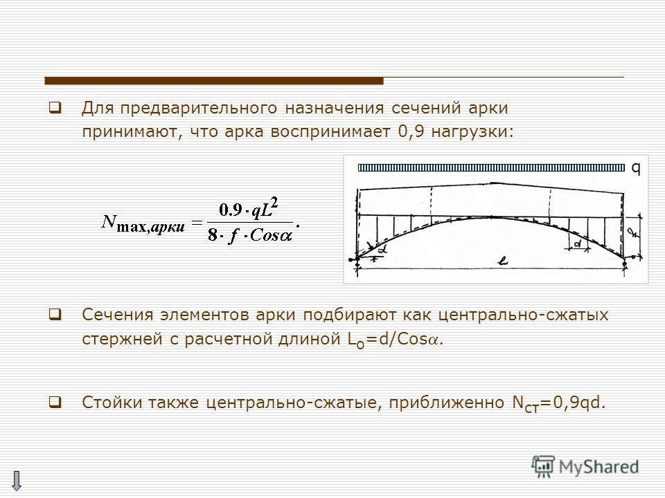 Для предварительного назначения сечений арки принимают, что арка воспринимает 0,9 нагрузки: Сечения элементов арки подбирают как центрально-сжатых стержней с расчетной длиной L o =d/Cos. Стойки также центрально-сжатые, приближенно N ст =0,9qd. q