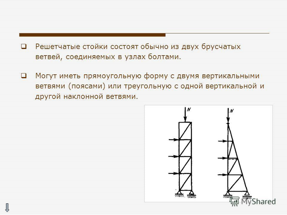 Решетчатые стойки состоят обычно из двух брусчатых ветвей, соединяемых в узлах болтами. Могут иметь прямоугольную форму с двумя вертикальными ветвями (поясами) или треугольную с одной вертикальной и другой наклонной ветвями.