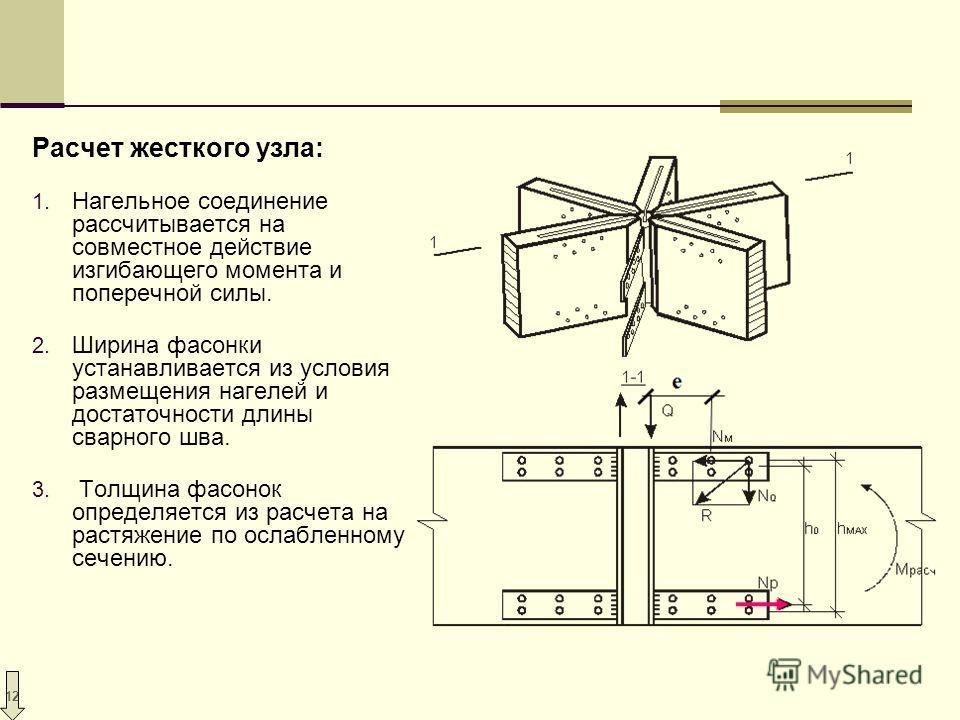12 Расчет жесткого узла: 1. Нагельное соединение рассчитывается на совместное действие изгибающего момента и поперечной силы. 2. Ширина фасонки устанавливается из условия размещения нагелей и достаточности длины сварного шва. 3. Толщина фасонок опред