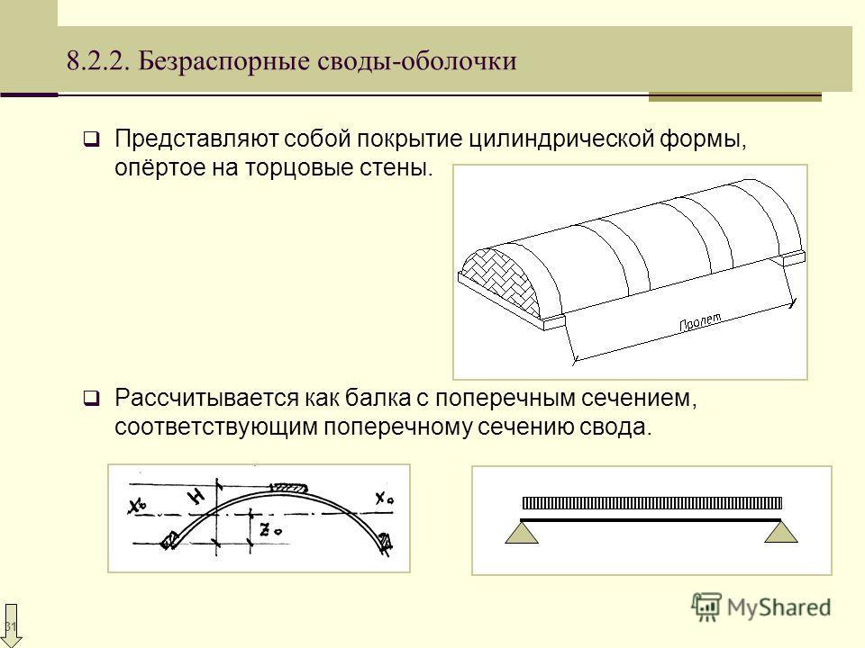 31 8.2.2. Безраспорные своды-оболочки Представляют собой покрытие цилиндрической формы, опёртое на торцовые стены. Рассчитывается как балка с поперечным сечением, соответствующим поперечному сечению свода.