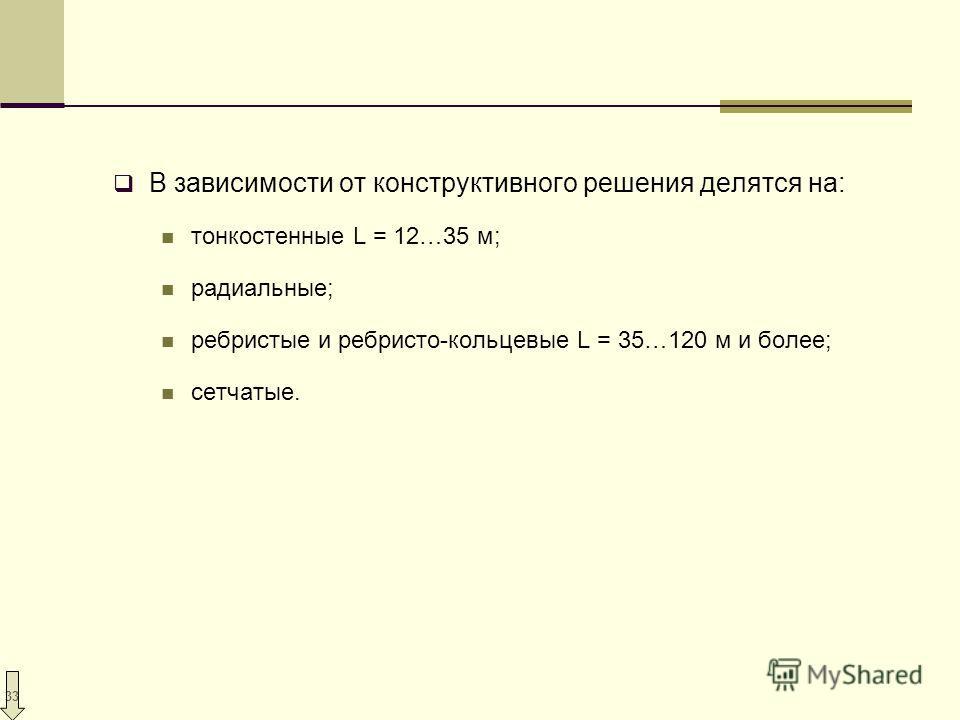 33 В зависимости от конструктивного решения делятся на: тонкостенные L = 12…35 м; радиальные; ребристые и ребристо-кольцевые L = 35…120 м и более; сетчатые.