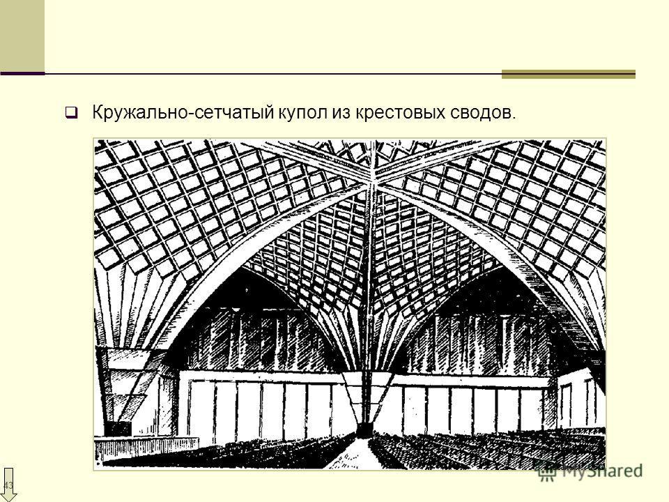 43 Кружально-сетчатый купол из крестовых сводов.