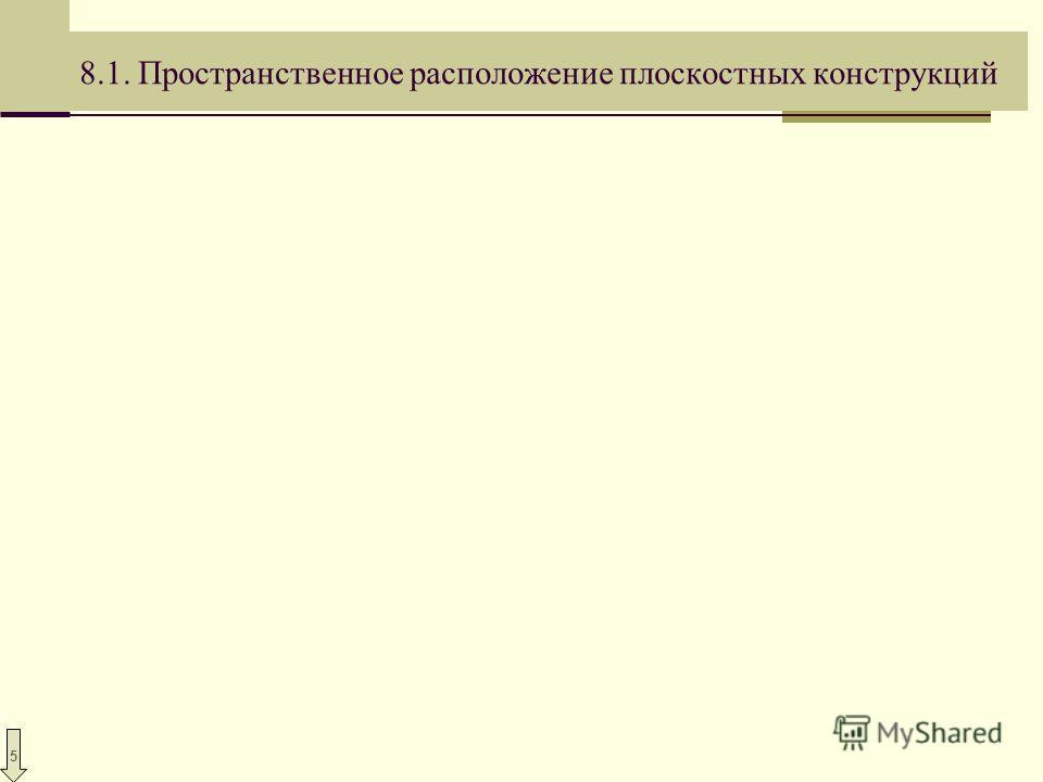5 8.1. Пространственное расположение плоскостных конструкций