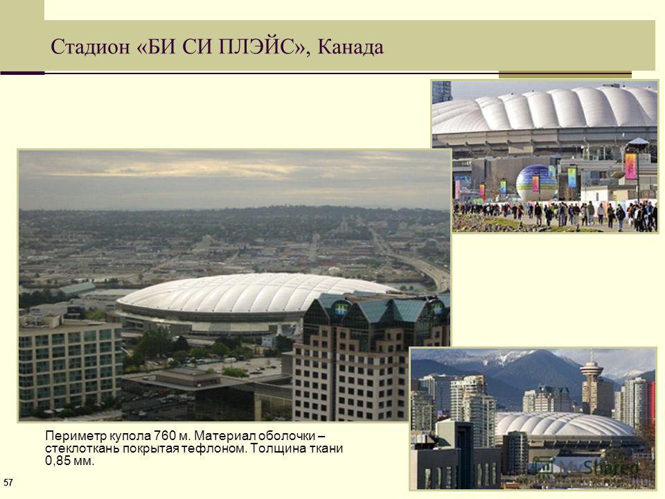 57 Стадион «БИ СИ ПЛЭЙС», Канада Периметр купола 760 м. Материал оболочки – стеклоткань покрытая тефлоном. Толщина ткани 0,85 мм.