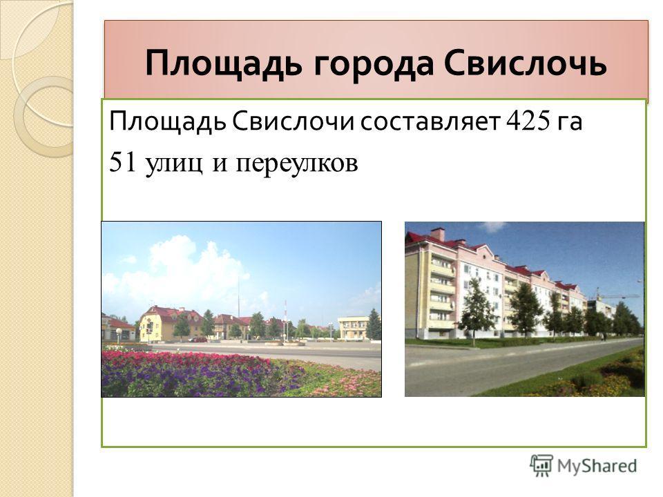 Площадь города Свислочь Площадь Свислочи составляет 425 га 51 улиц и переулков