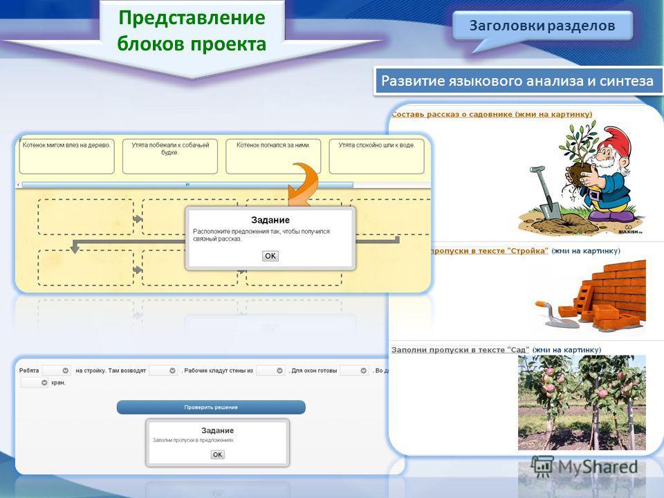 Представление блоков проекта Заголовки разделов Развитие языкового анализа и синтеза