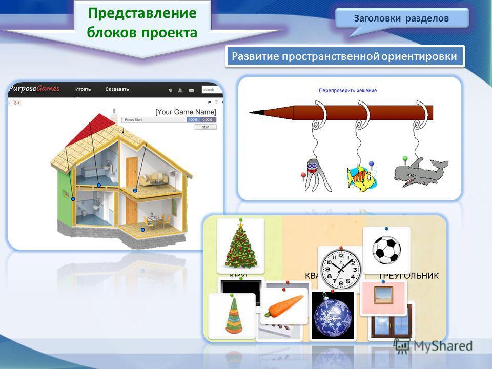 Представление блоков проекта Заголовки разделов Развитие пространственной ориентировки