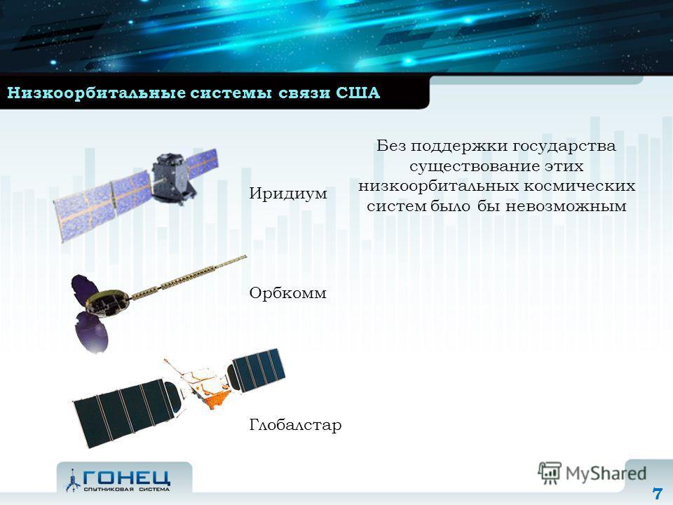 7 Низкоорбитальные системы связи США Без поддержки государства существование этих низкоорбитальных космических систем было бы невозможным Иридиум Орбкомм Глобалстар