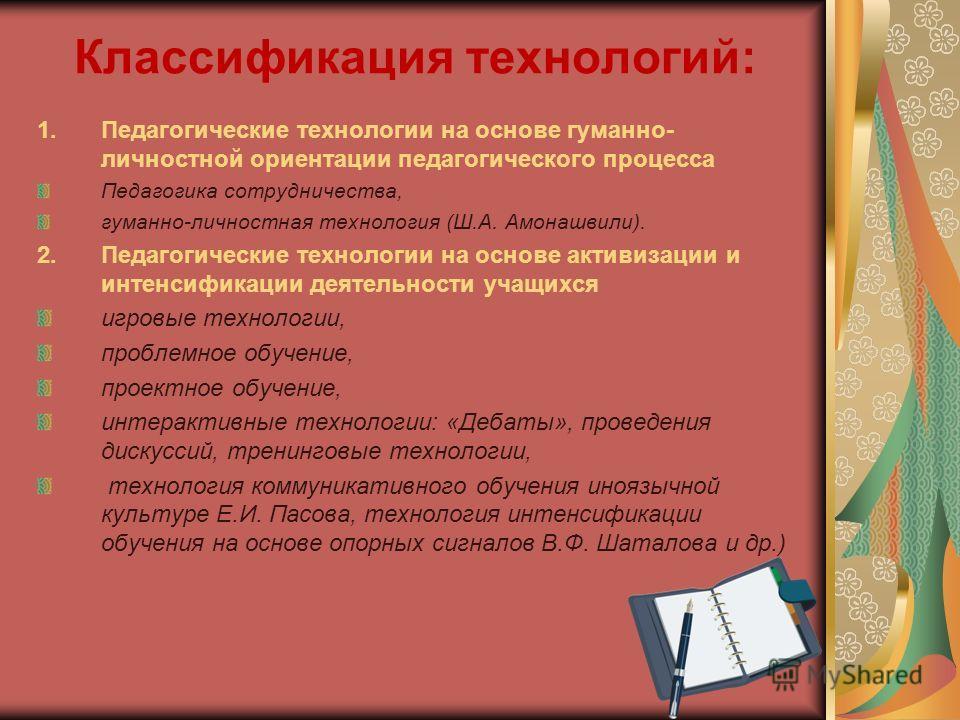 Классификация технологий: 1.Педагогические технологии на основе гуманно- личностной ориентации педагогического процесса Педагогика сотрудничества, гуманно-личностная технология (Ш.А. Амонашвили). 2.Педагогические технологии на основе активизации и ин