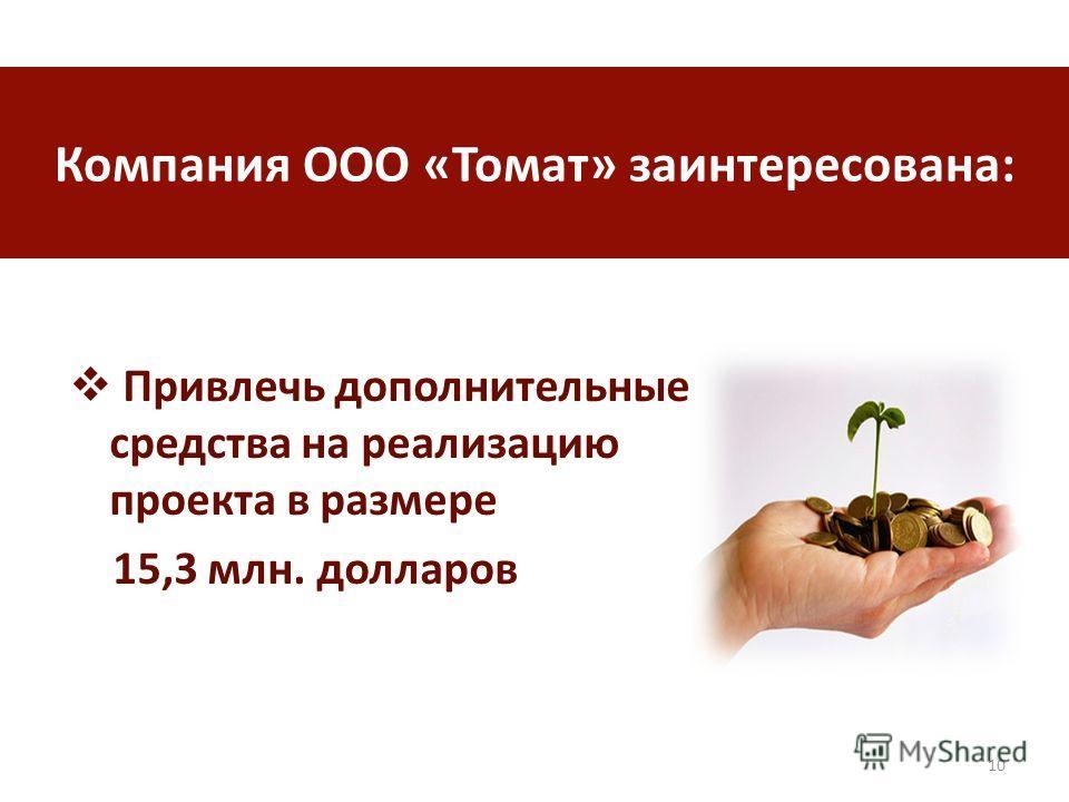 Привлечь дополнительные средства на реализацию проекта в размере 15,3 млн. долларов 10 Компания ООО «Томат» заинтересована: