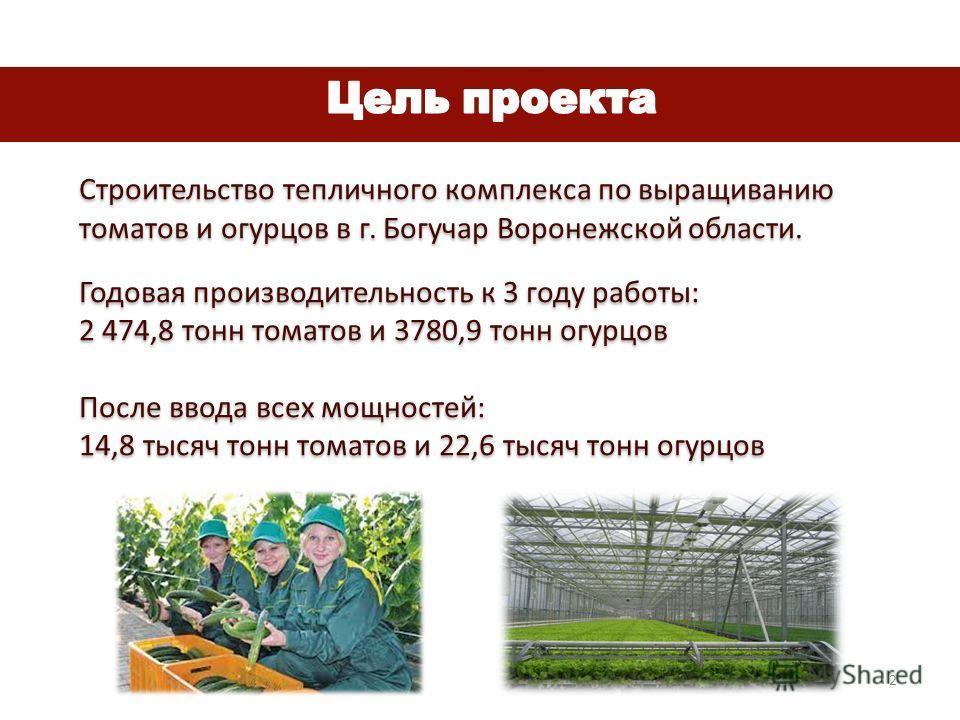 Строительство тепличного комплекса по выращиванию томатов и огурцов в г. Богучар Воронежской области. Годовая производительность к 3 году работы: 2 474,8 тонн томатов и 3780,9 тонн огурцов После ввода всех мощностей: 14,8 тысяч тонн томатов и 22,6 ты