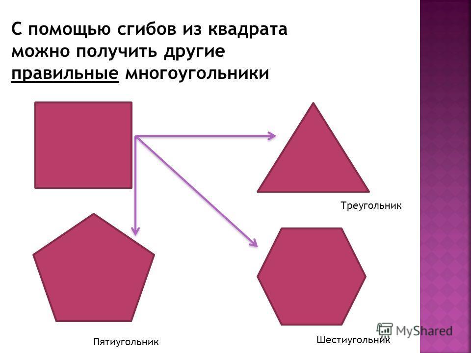 Пятиугольник Шестиугольник Треугольник С помощью сгибов из квадрата можно получить другие правильные многоугольники