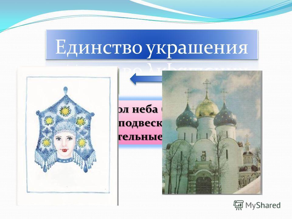 КокошникКокошник КуполКупол Символ неба (звезды. Солнце, подвески – дождь), растительные мотивы