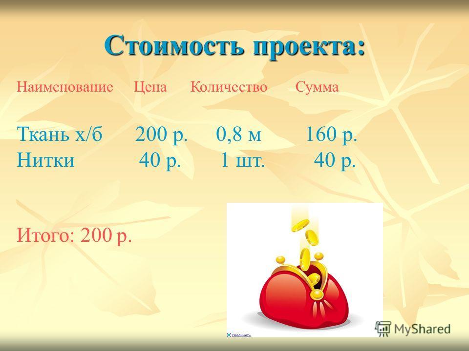 Стоимость проекта: Наименование Цена Количество Сумма Ткань х/б 200 р. 0,8 м 160 р. Нитки 40 р. 1 шт. 40 р. Итого: 200 р.