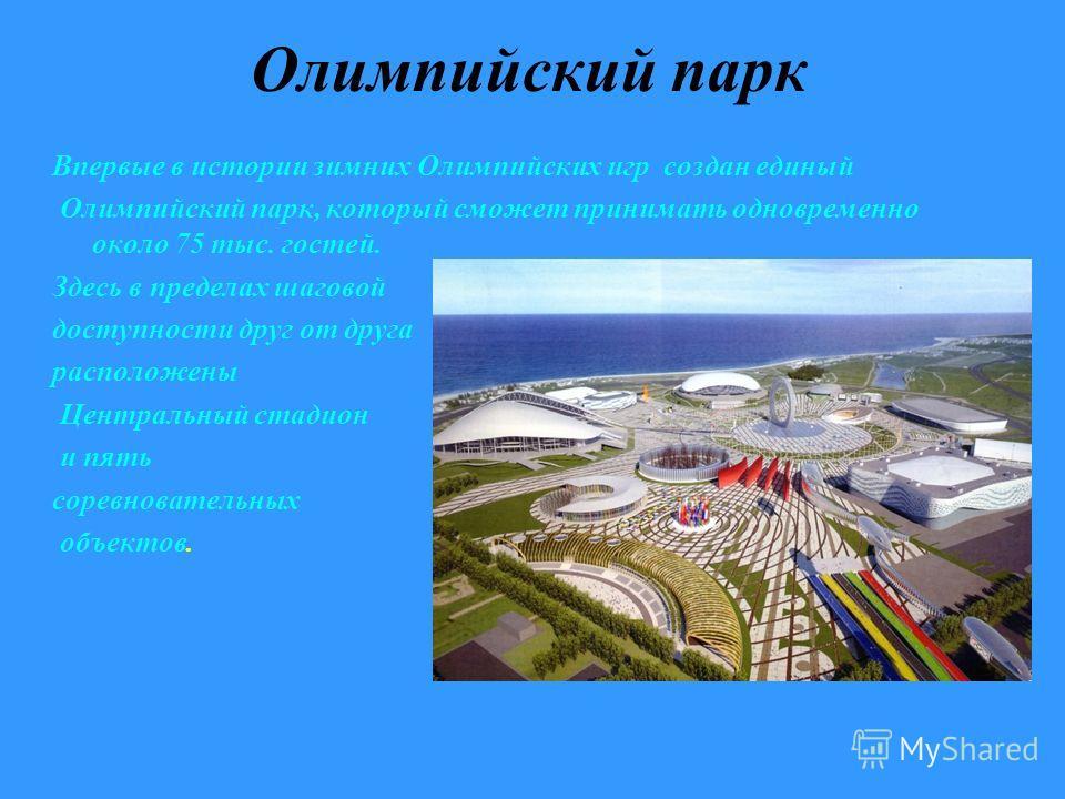 Олимпийский парк Впервые в истории зимних Олимпийских игр создан единый Олимпийский парк, который сможет принимать одновременно около 75 тыс. гостей. Здесь в пределах шаговой доступности друг от друга расположены Центральный стадион и пять соревноват