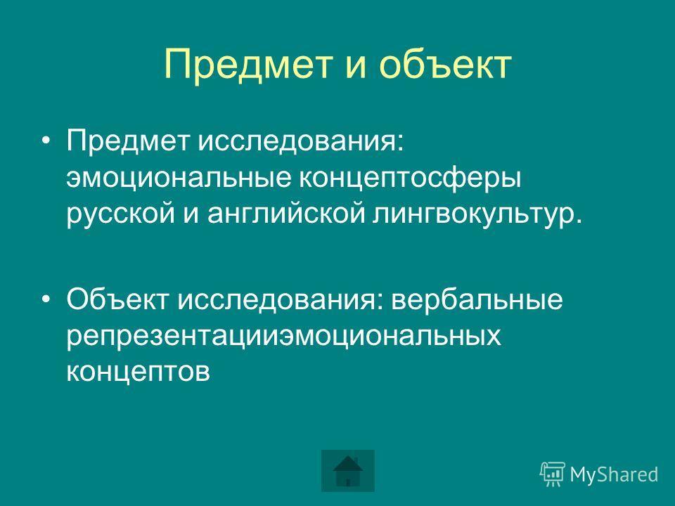 Предмет и объект Предмет исследования: эмоциональные концептосферы русской и английской лингвокультур. Объект исследования: вербальные репрезентацииэмоциональных концептов