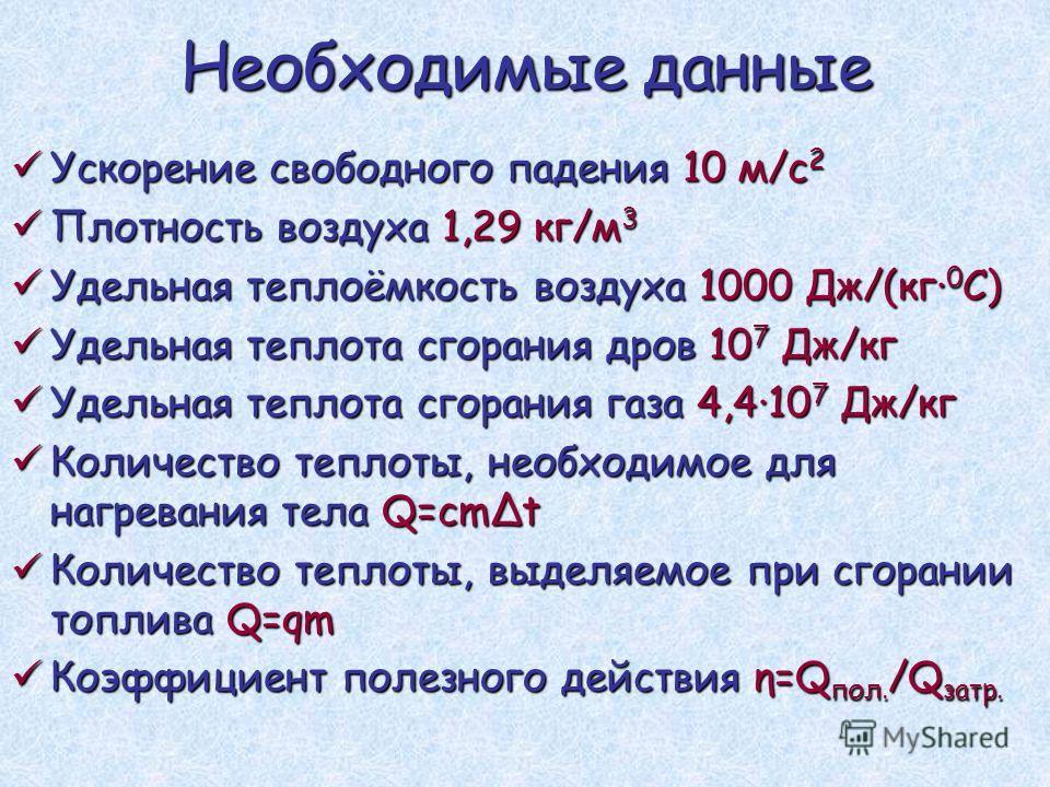 Необходимые данные Ускорение свободного падения 10 м/с 2 Ускорение свободного падения 10 м/с 2 Плотность воздуха 1,29 кг/м 3 Плотность воздуха 1,29 кг/м 3 Удельная теплоёмкость воздуха 1000 Дж/(кг 0 С) Удельная теплоёмкость воздуха 1000 Дж/(кг 0 С) У