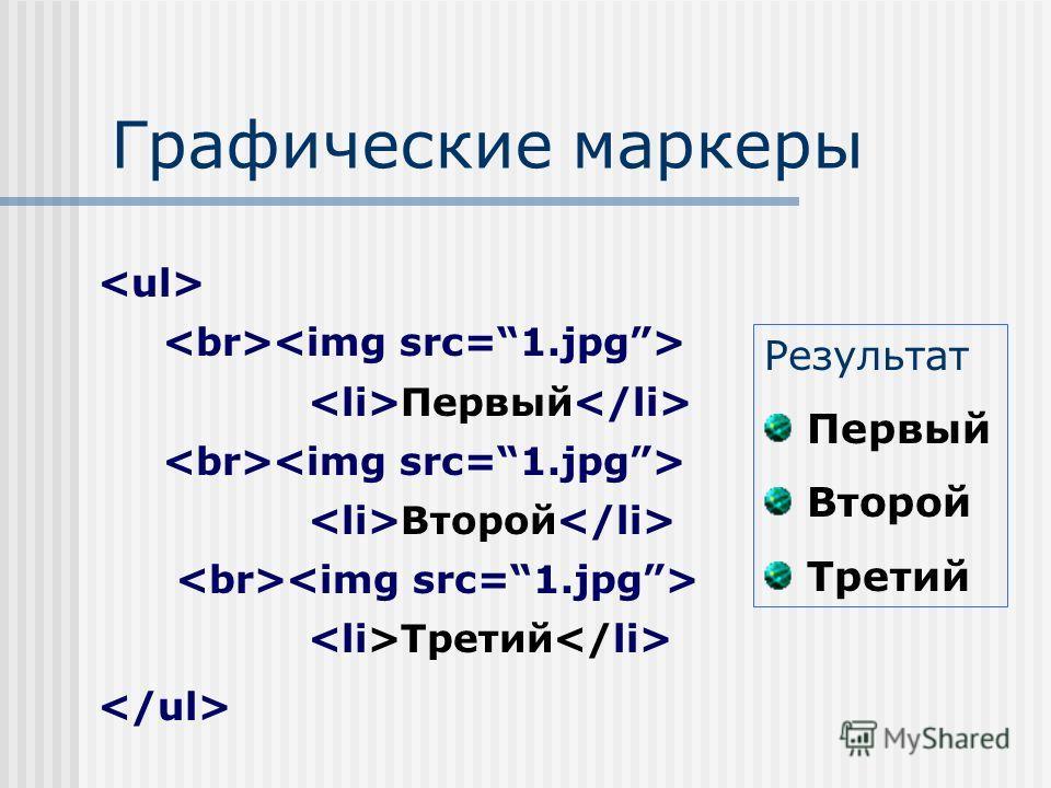 Графические маркеры Результат Первый Второй Третий Первый Второй Третий