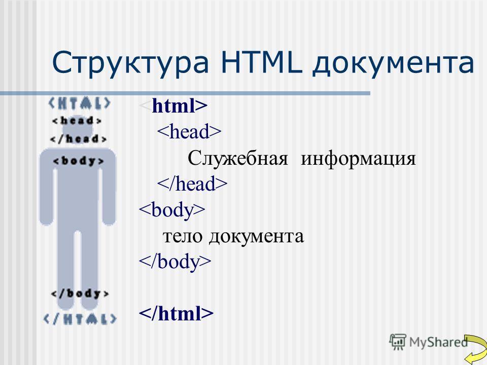 Структура HTML документа Служебная информация тело документа