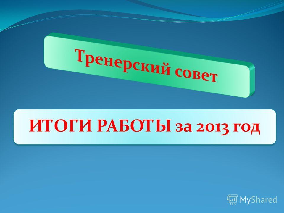 ИТОГИ РАБОТЫ за 2013 год