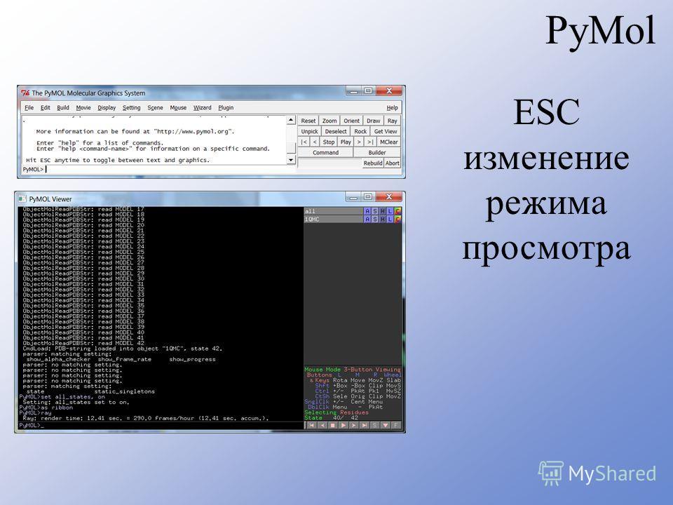 PyMol ESC изменение режима просмотра